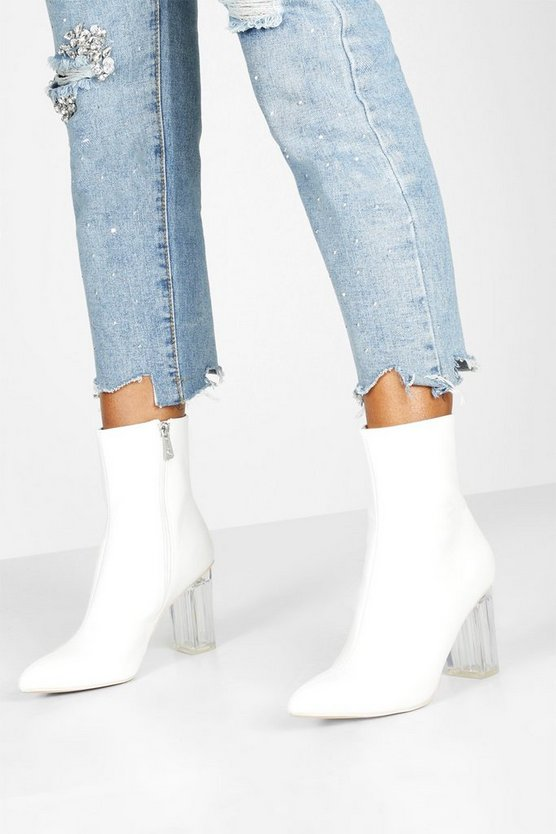 Clear Block Heel Pointed Toe Shoe Boots by Boohoo