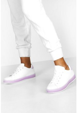 Purple Translucent Sole Flat Lace Up Trainers
