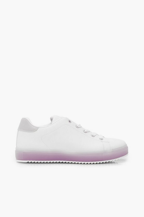 Translucent Sole Flat Lace Up Trainers