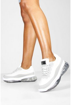 Dam White Bubble Sole Lace Up Chunky Trainers