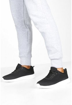 Dam Black Basic Knitted Sports Trainers