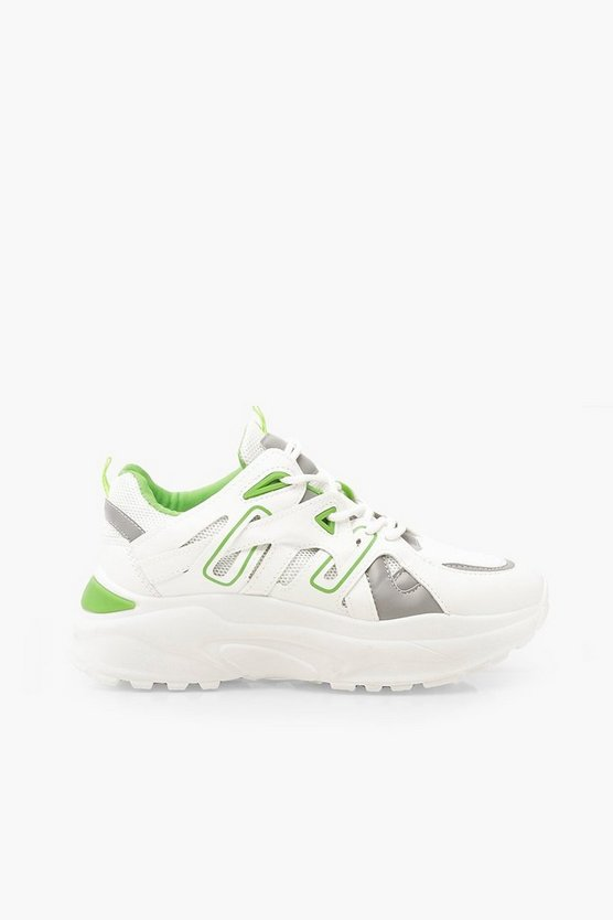 Contrast Panel Lace Up Chunky Trainers