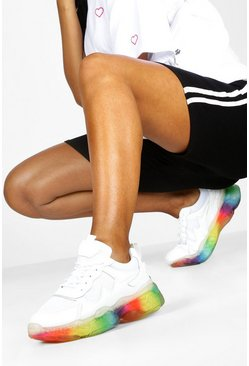 Mens White Translucent Rainbow Sole Chunky Trainers