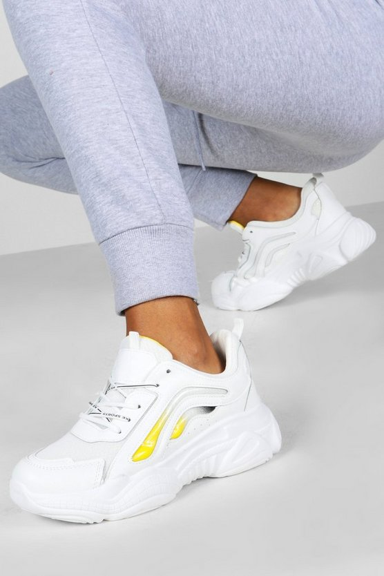 Womens Yellow Colour Pop Chunky Sole Trainers