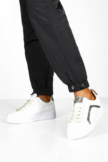 Womens White Snake Panel Flat Lace Up Trainers