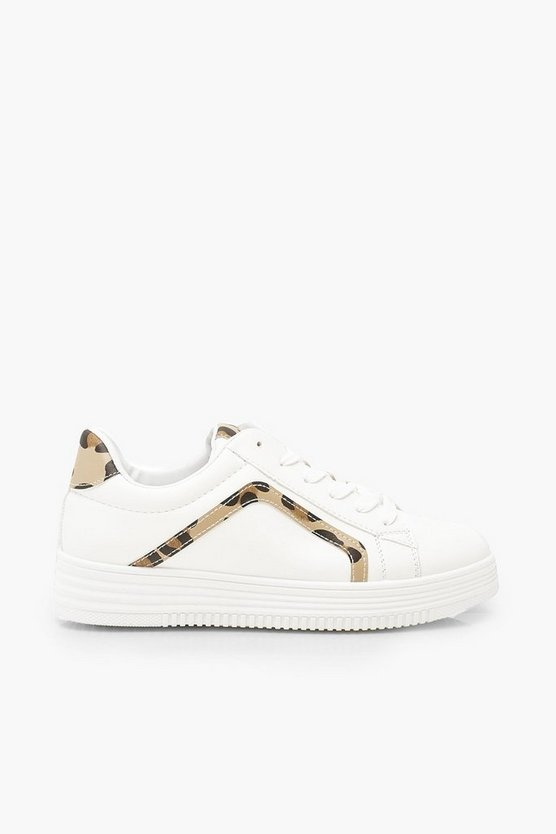 Leopard Panel Flat Lace Up Trainers
