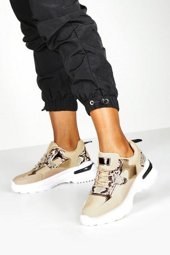 Snake Panel Chunky Sole Trainers
