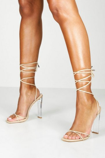 Womens Nude Clear Heel Strappy Heels