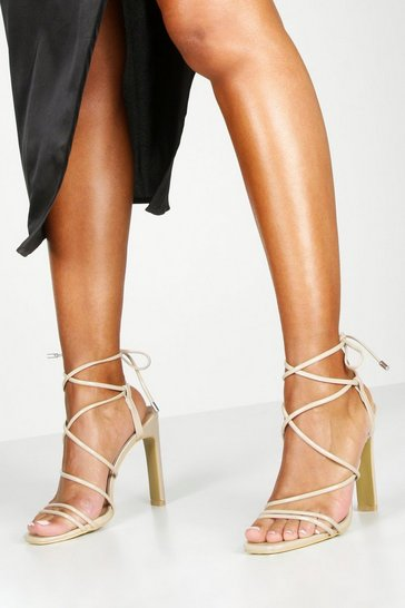 Womens Nude Strappy Tie Flat Heel Sandals