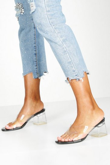 Black Clear Low Block Heel Mules