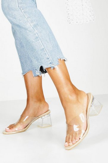 Nude Clear Low Block Heel Mules