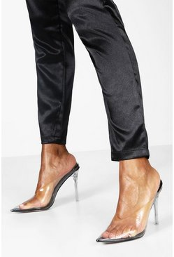 Womens Black Clear Stiletto Heel Mule Courts