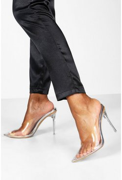 Silver Clear Stiletto Heel Mule Courts