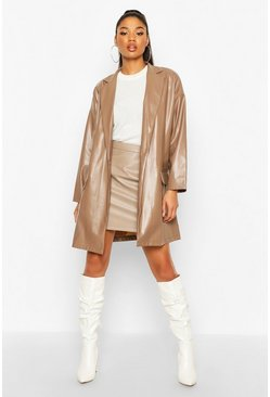 Mocha Oversized PU Leather Look Boyfriend Jacket