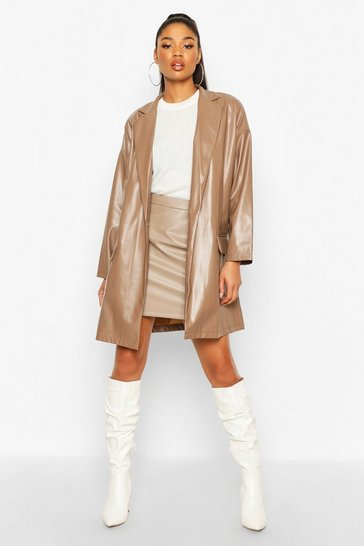 Womens Mocha Oversized PU Leather Look Boyfriend Jacket