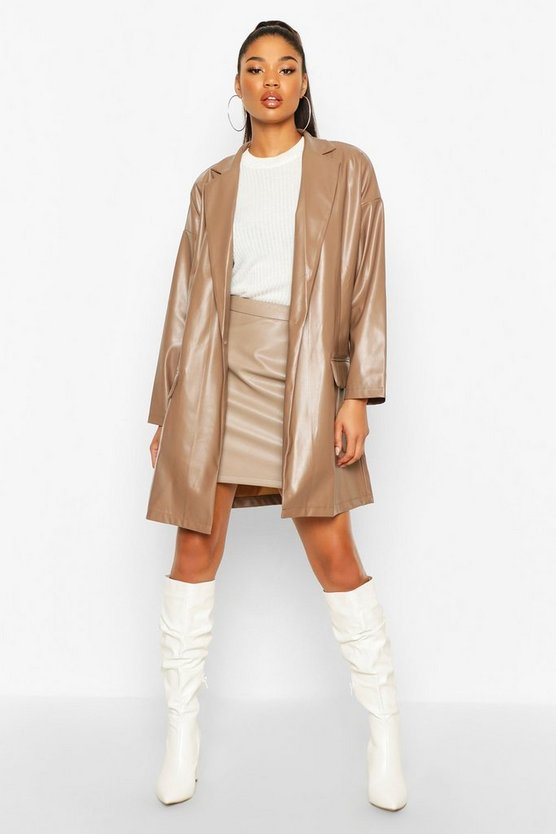 Oversized PU Leather Look Boyfriend Jacket