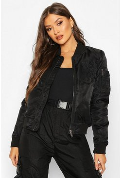 Embroidered Bomber Jacket, Black, Donna