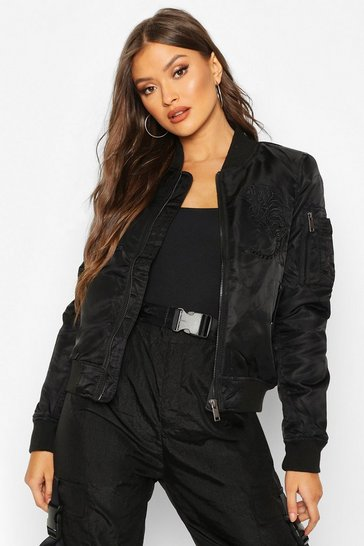 Womens Black Embroidered Bomber Jacket