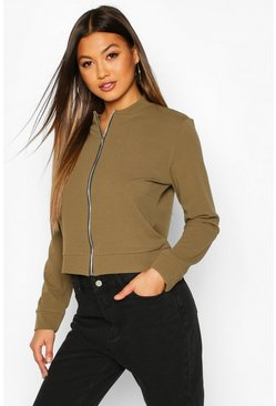 Womens Khaki Zip Through Bomber Jacket
