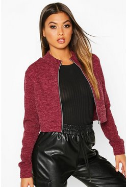 Wine Funnel Neck Heavy Rib Bomber Jacket