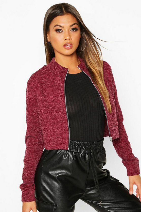 Funnel Neck Heavy Rib Bomber Jacket