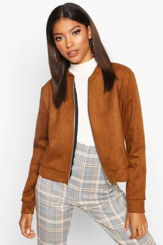Womens Chocolate Suedette Bomber Jacket