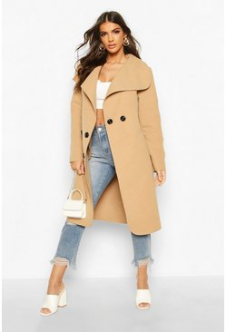 Camel Waterfall Double Breasted Belted Coat