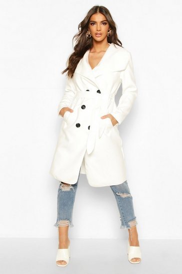 Womens Cream Waterfall Double Breasted Belted Coat