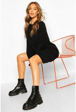 Womens Black Soft Touch Crew Neck Mini Jumper Dress