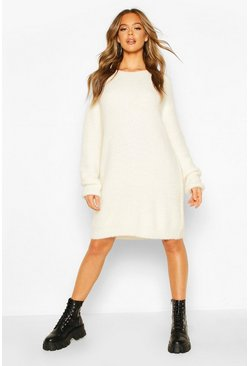 Womens Cream Soft Touch Crew Neck Mini Jumper Dress