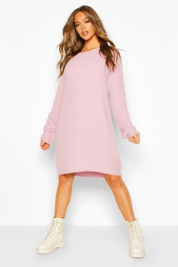 Lilac Soft Touch Crew Neck Mini Jumper Dress