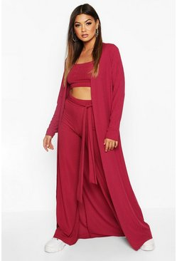 Raspberry Ribbed Maxi Cardigan