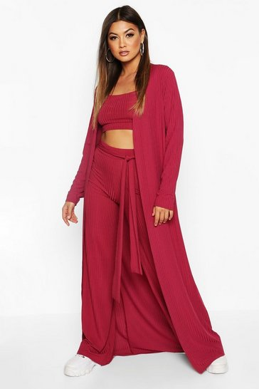 Womens Raspberry Ribbed Maxi Cardigan