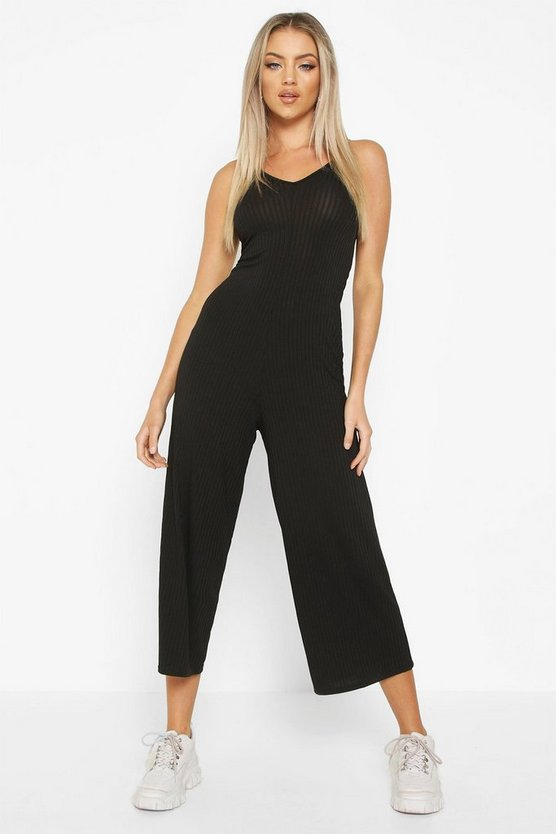 Black Ribbed Culotte Jumpsuit
