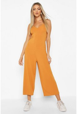 Copper Ribbed Culotte Jumpsuit