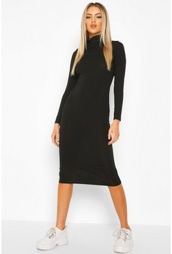 Womens Black Ribbed Roll Neck Midi Dress