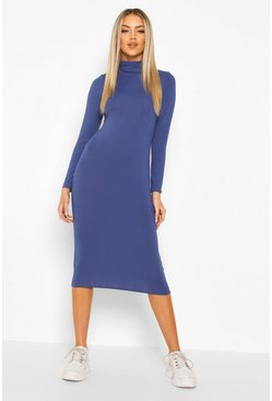 Navy Ribbed Roll Neck Midi Dress