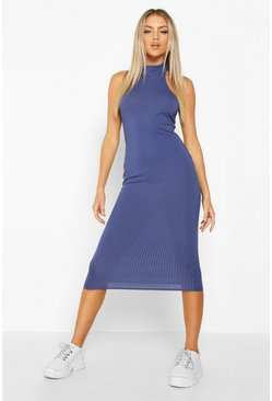 Womens Navy High Neck Ribbed Midi Dress