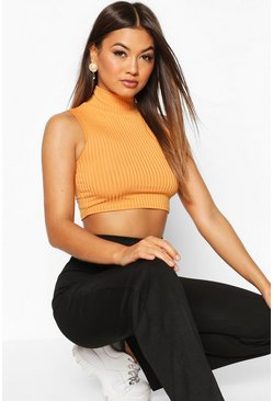 Womens Copper High Neck Ribbed Crop