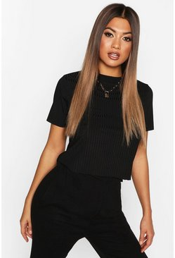 Womens Black Ribbed Cropped Tee