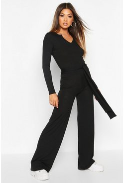 Dam Black Ribbed Wide Leg Trousers