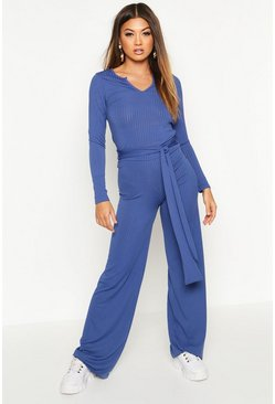 Ribbed Wide Leg Trousers, Navy
