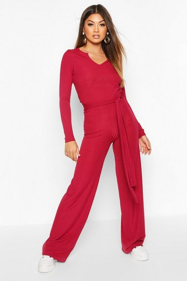Womens Raspberry Ribbed Wide Leg Trousers