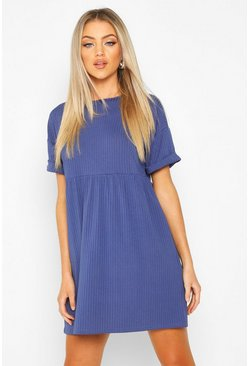 Womens Navy Ribbed Smock Dress