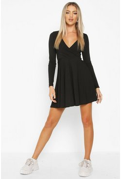 Black Ribbed Wrap Over Skater Dress