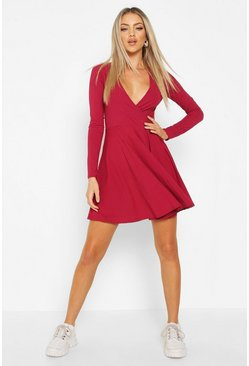 Womens Raspberry Ribbed Wrap Over Skater Dress