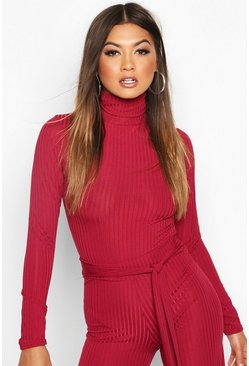 Ribbed High Neck Body, Raspberry, Donna