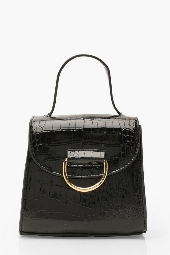 Croc D Ring Detail & Handle Cross Body Bag