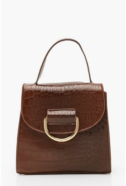 Croc D Ring Detail & Handle Cross Body Bag, Chocolate