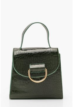 Green Croc D Ring Detail & Handle Cross Body Bag